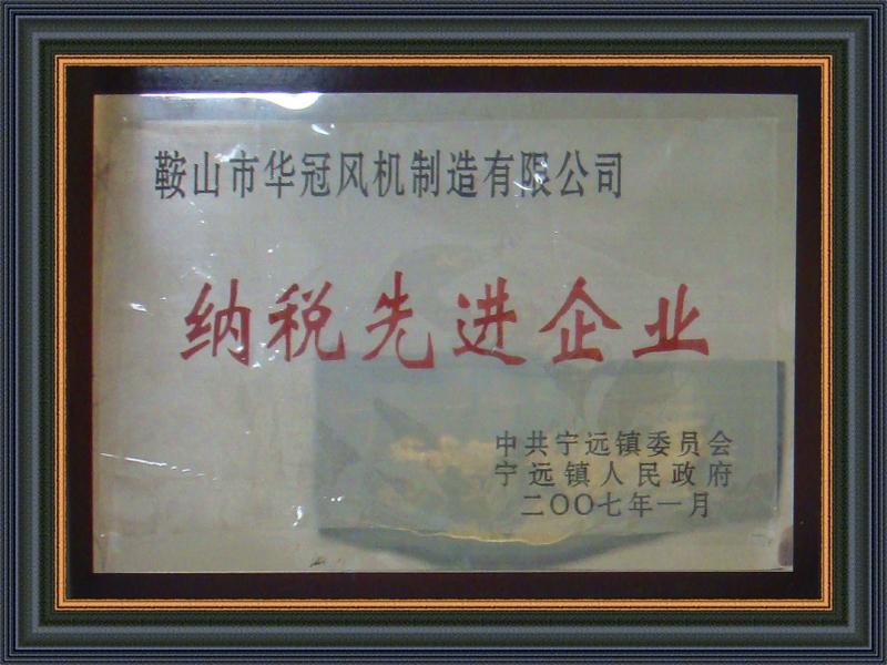 纳税先进荣誉证书